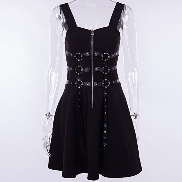 Dress with belts eyelet and zipper 5