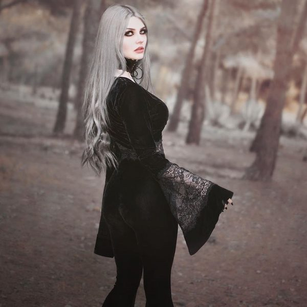 Gothic Long Sleeve Crop Top with Lace 5
