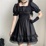 Harajuku Dark Style Dress with Vintage Square Collar and Puff Sleeves  5