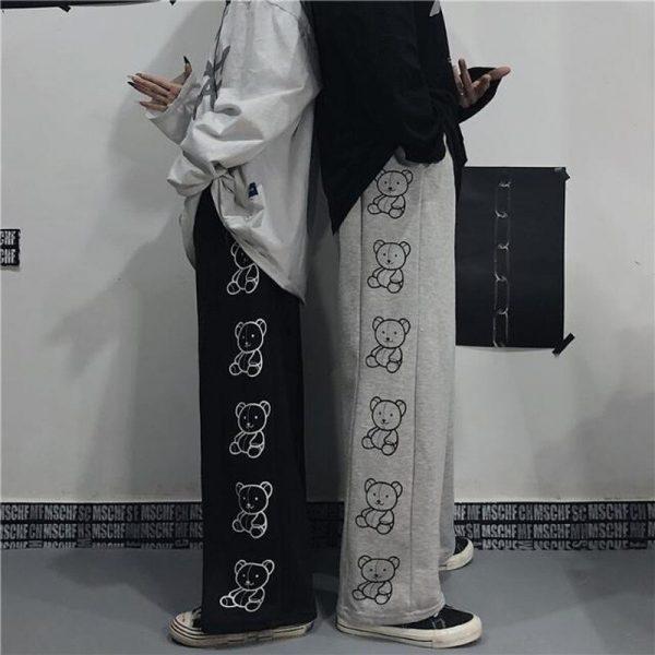 Wide Leg Pants with Cartoon Print 3