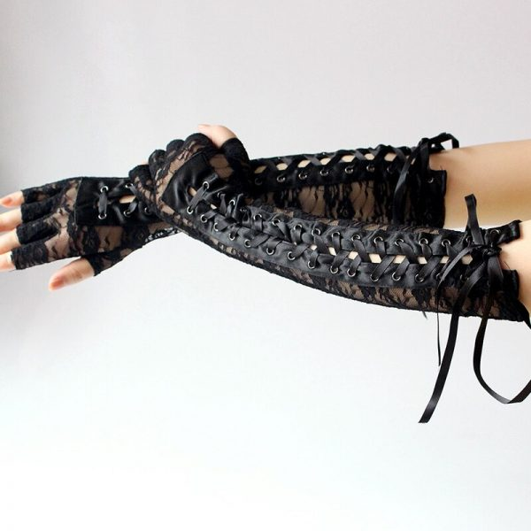 Lace Long Fingerless Gloves  2
