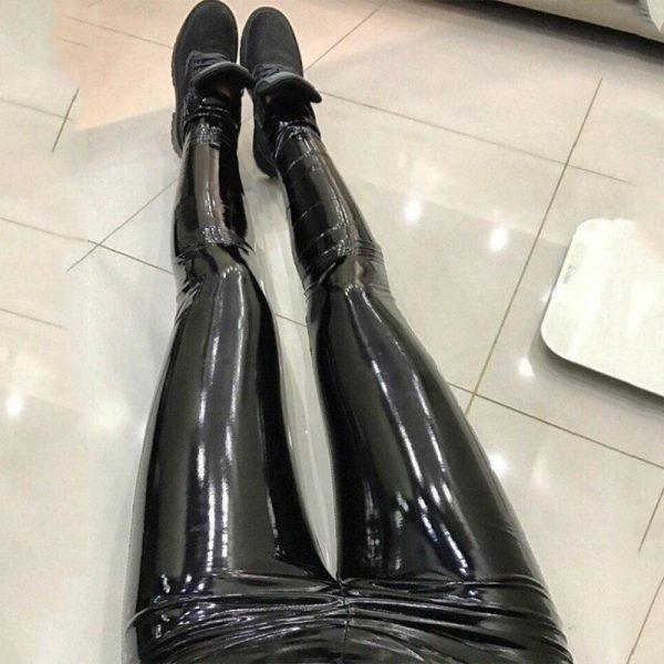 PU Leather Black Skinny Leggings 17