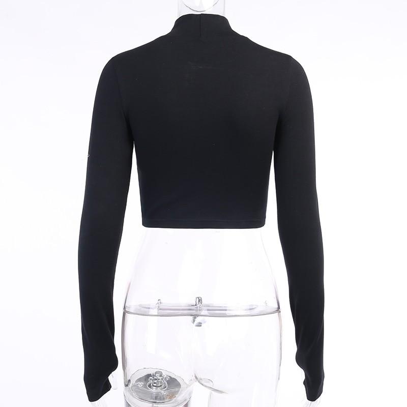 Black Bodycon Long Sleeve Crop Top E-girl 43