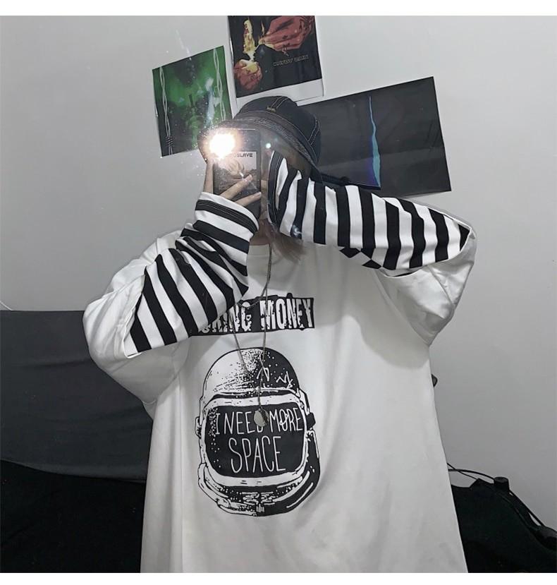 Letter Print stripe Long Sleeve T-shirt E-girl 42