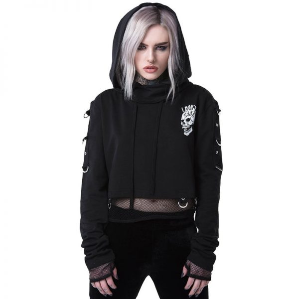 Gothic Cropped Hoodie with Skull Print 4