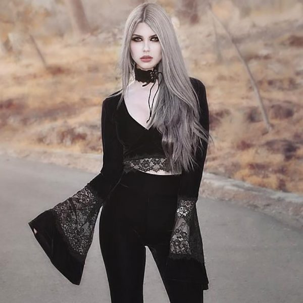 Gothic Long Sleeve Crop Top with Lace 10
