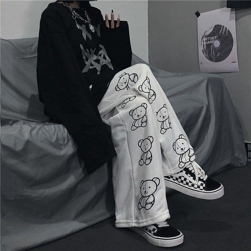 Wide Leg Pants with Cartoon Print E-girl Punk 49