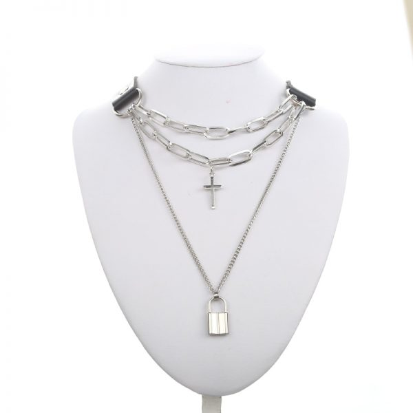Multilayer lock chain necklace 26