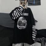 Letter Print stripe Long Sleeve T-shirt