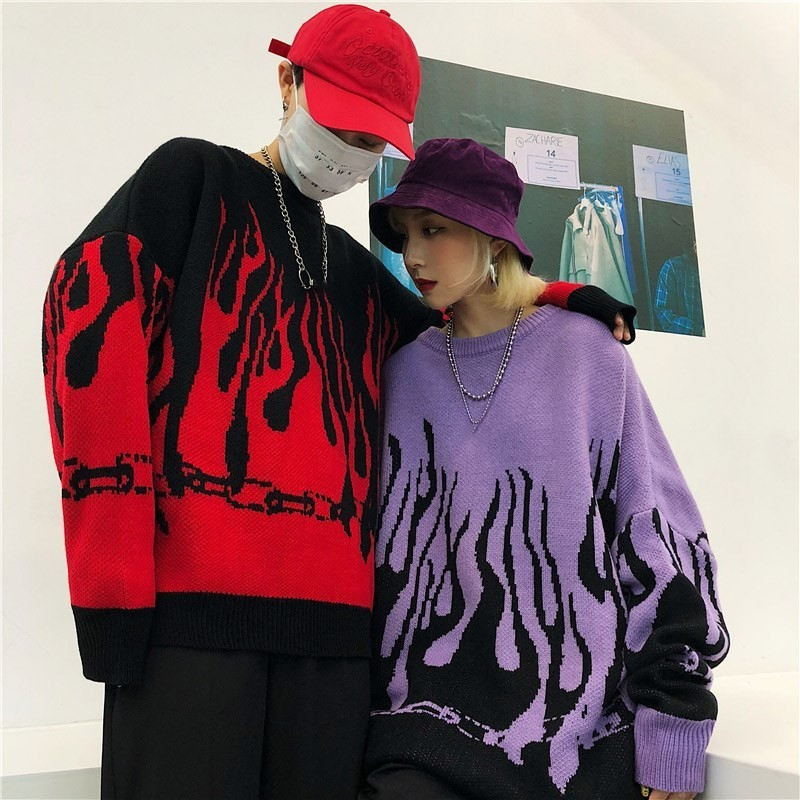 Flame Knitting Batwing Sleeve Sweater E-girl Punk 50