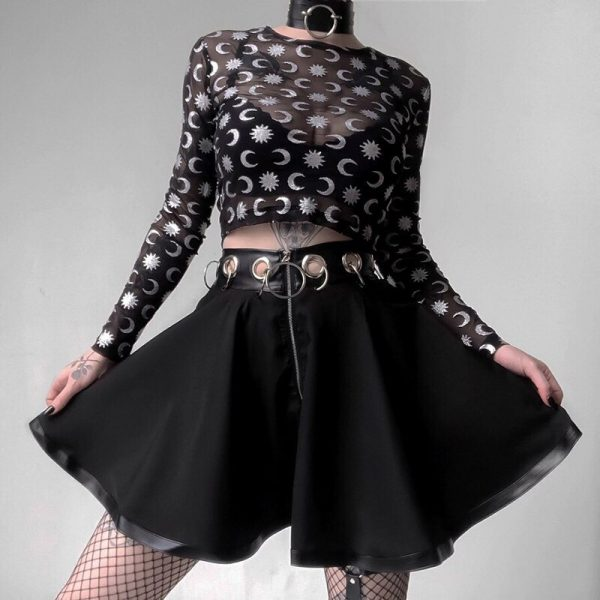 Black Mini Skirts with  Rings and Zipper 3
