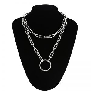 Multilayer Chain Necklace With A Ring Pendant 7