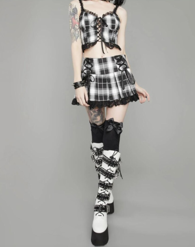 Pleated Skirts with lace E-girl 48
