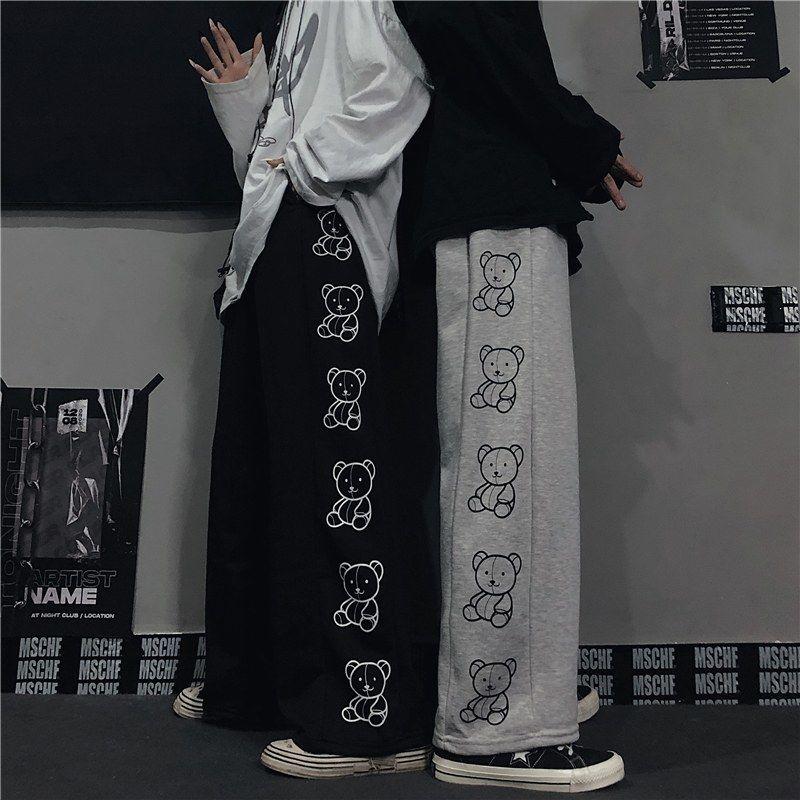 Wide Leg Pants with Cartoon Print E-girl Punk 46