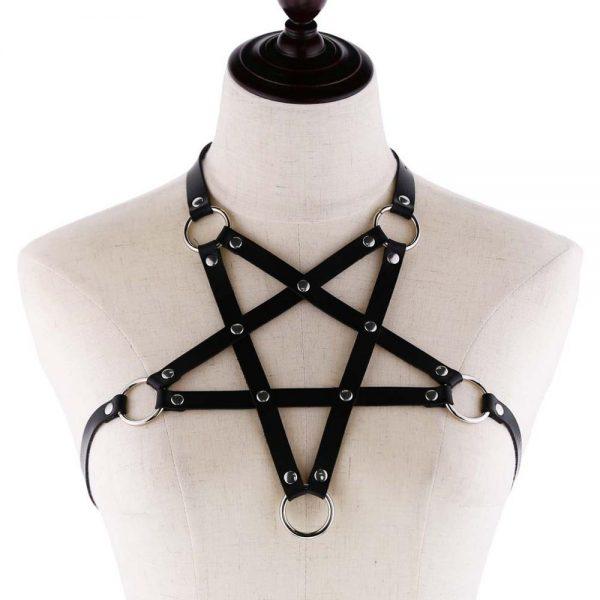 Pentagram shape Leather Body Harness  1