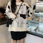 Loose Cow print Sweater  16