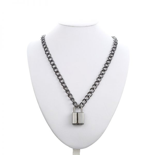 Black Chain With Lock Necklace 7