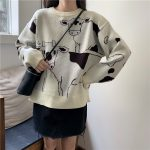 Loose Cow print Sweater  14