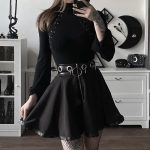 Black Mini Skirts with  Rings and Zipper 2