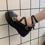Lolita shoes with platform round head and heart buckles