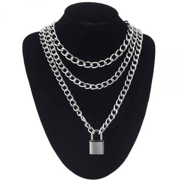 Multilayer Chain Necklace With A Padlock_2 7
