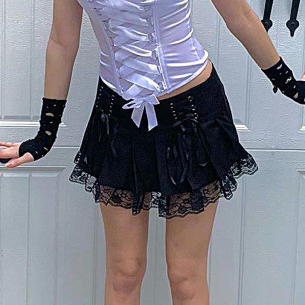 Lace Pleated Mini Skirt 24