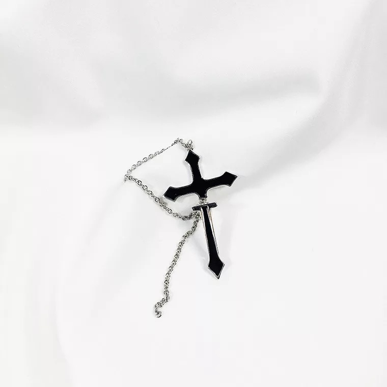 Cross Drop Earring with chain Egirl 43