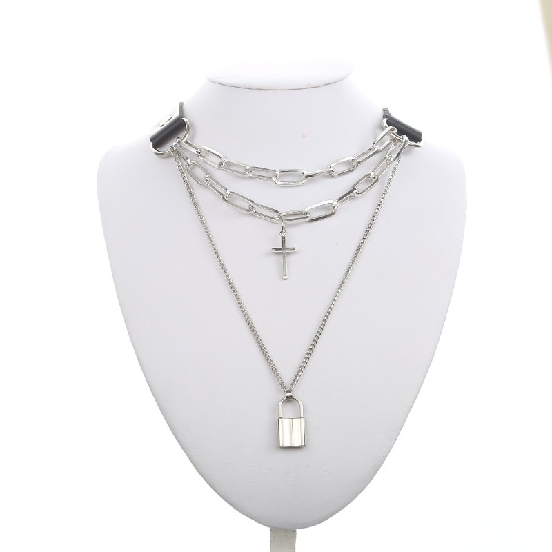 Multilayer chain necklace with lock and cross 41