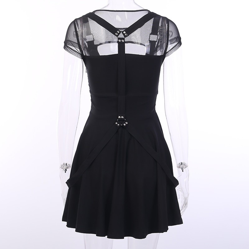 Black Dress with Mesh Shoulders Pastel gothic 43