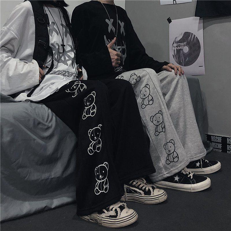 Wide Leg Pants with Cartoon Print E-girl Punk 43