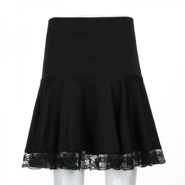 Lace Hem Pleated Mini Skirt with  High Waist 4