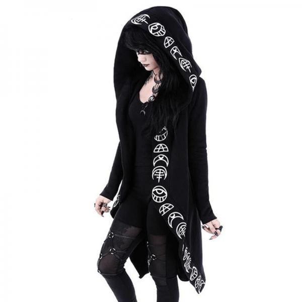 Loose Coat Hoodie With Moon Print 3