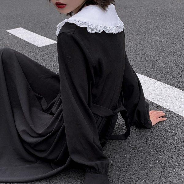 Dress Women Dark Fashion Preppy Style Long Sleeve Lolita Dresses Japanese Sweet Peter Pan Collar Long Ladies Elegant Dresses 6