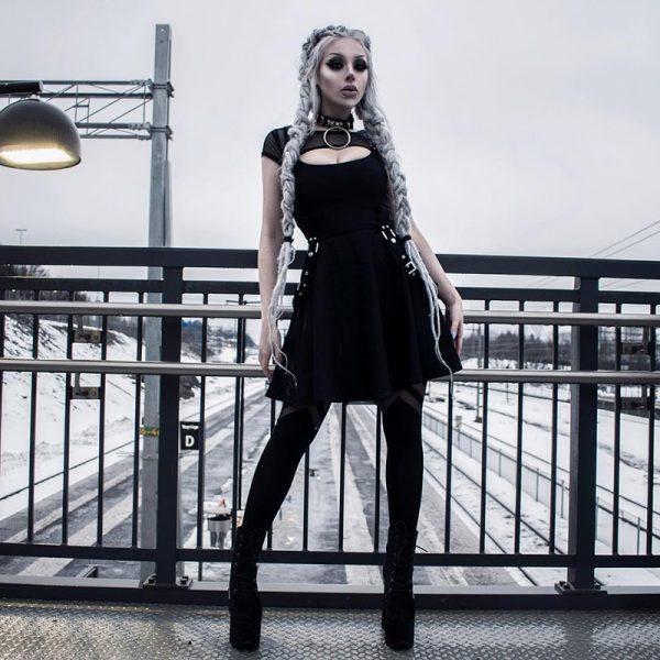 Black Dress with Mesh Shoulders 13