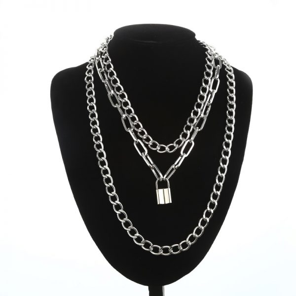 Multilayer Chain Necklace With A Padlock_1 7