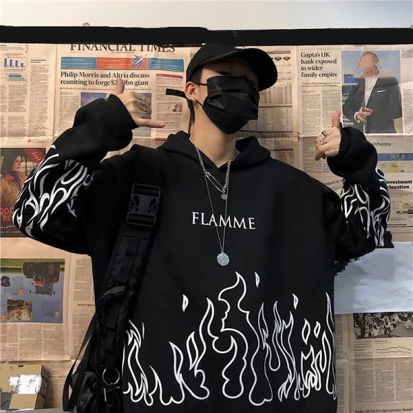 Oversized hoodie with flame print 2