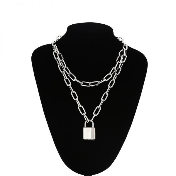 Multilayer Chain Necklace With A Padlock Pendant_3 7