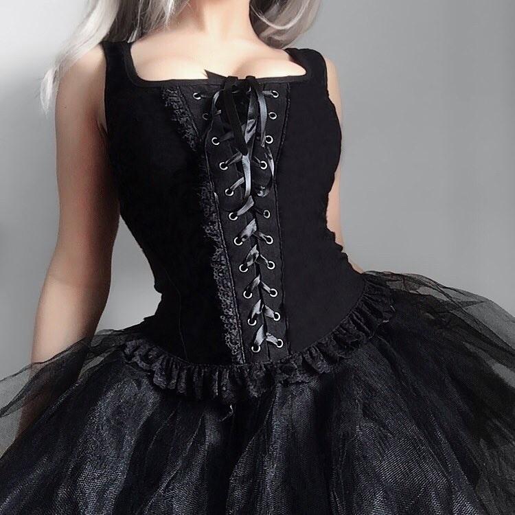 Black Lace Tank Top E-girl Gothic 42