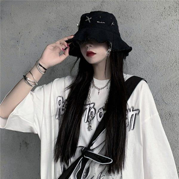 Harajuku Bucket  Hat with Pins 4