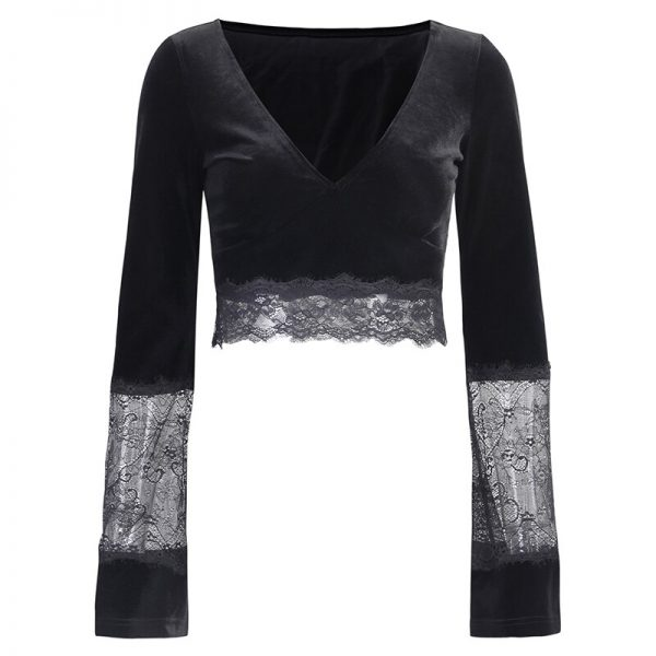 Gothic Long Sleeve Crop Top with Lace 6