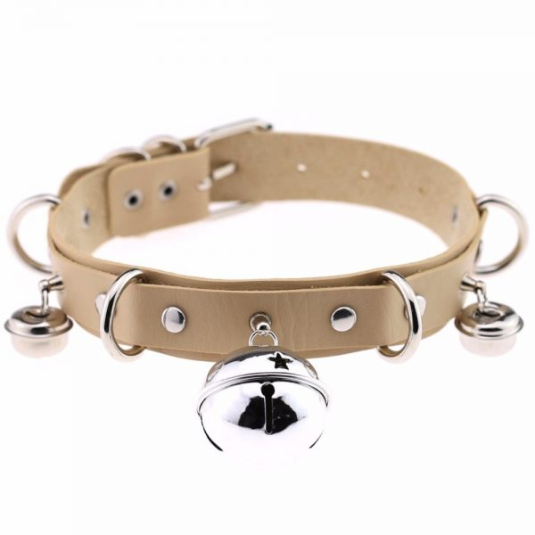 Leather Choker with Bells and rings 5