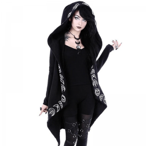 Loose Coat Hoodie With Moon Print