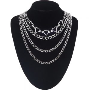 Multilayer Chain Necklace With Hearts 7