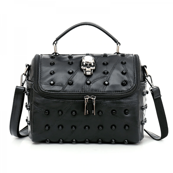 Crossbody Bag with Rivets and Skull