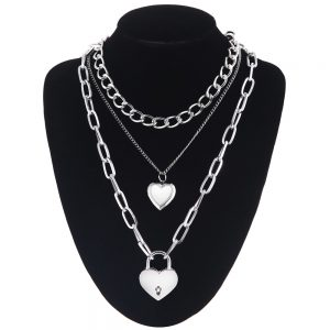Multilayer Chain Necklace With Heart pendants 7