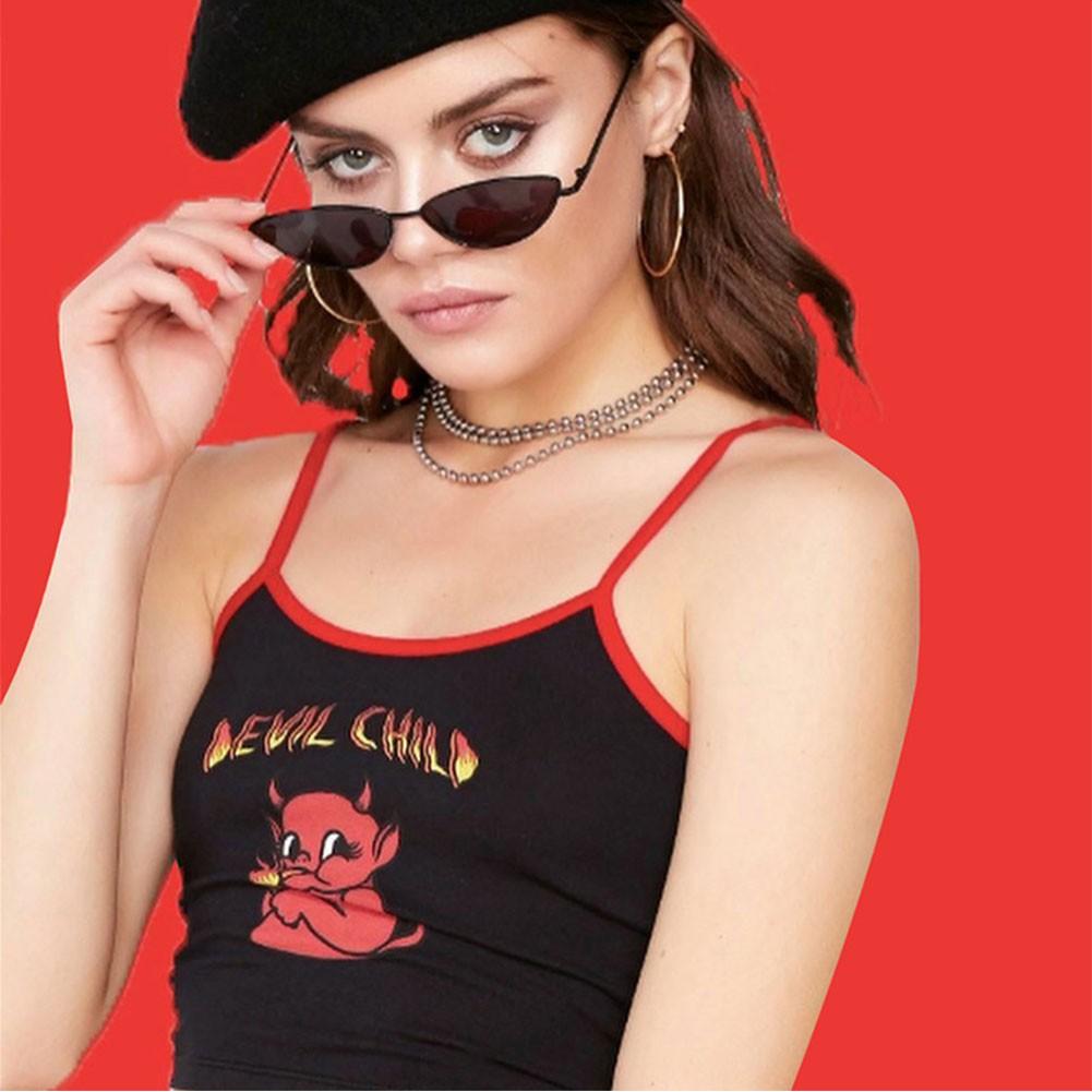 Devil Print Crop Top E-girl Punk 3