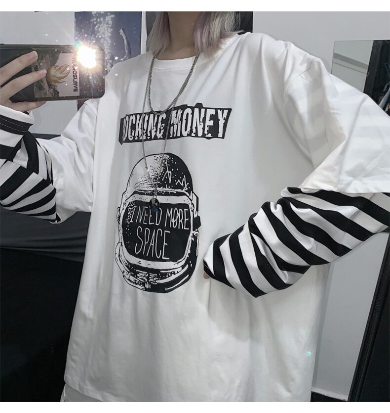 Letter Print stripe Long Sleeve T-shirt E-girl 45