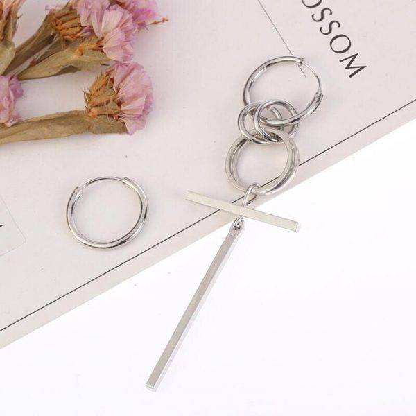 Asymmetric Earrings with cross pendant and rings 5