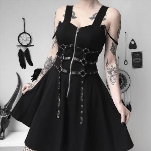 Dress with belts eyelet and zipper 7