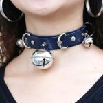 Leather Choker with Bells and rings 2